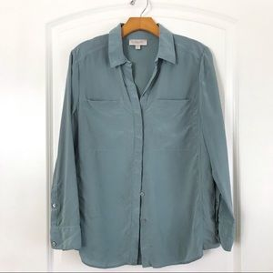 Nordstrom's Silk Button Down Long Sleeve Blouse